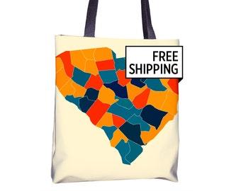 South Carolina Map Tote Bag - SC Map Tote Bag 15x15