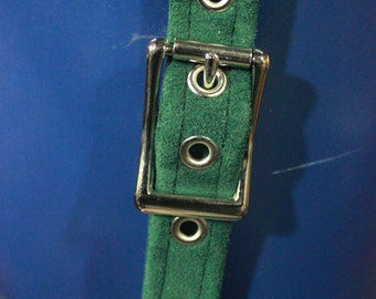 Green Suede Leather Suspenders