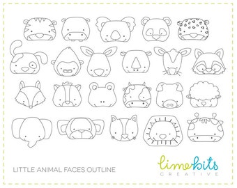 Animal Faces Clip Art OUTLINE