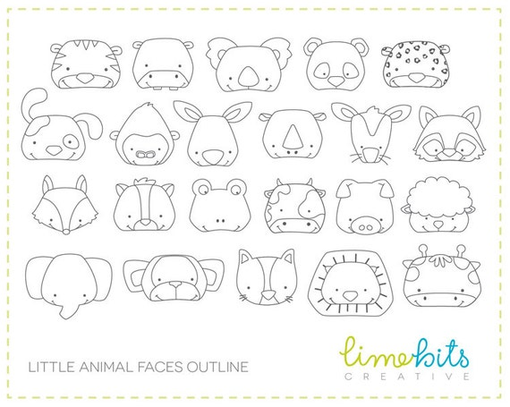 Animal Faces Clip Art OUTLINE