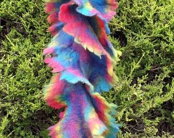 Rainbow ruffle felted scarf - Ultra lightweight