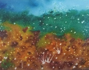 Meadow #5 /Mothers Day Gift /Easter /Mounted/ Framed/Watercolour/Brusho/Original Art/Painting/Gift