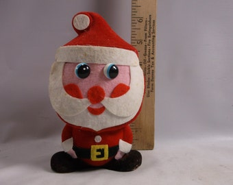 Santa Bank Vintage Christmas 1950 s Flocked Bisque And Felt Patchwork Japan.epsteam