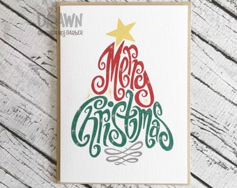 "Christmas Holiday Cards: ""Merry Christmas"" Tree"
