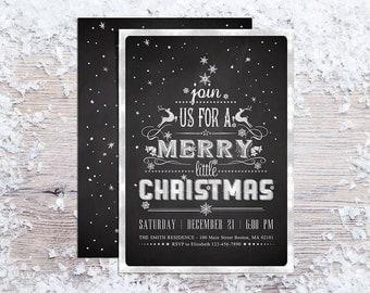 Printable Christmas Invitations, Holiday Party Invitation, Chalkboard Invite, Typography