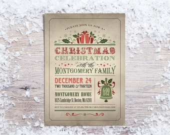 Printable Christmas Invitations,  Holiday Party Invitation, Rustic or Chalboard Christmas Invite