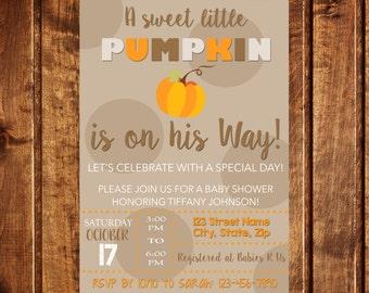 Pumpkin Baby Shower Invitation, Fall, Baby Boy, Autumn, Brown, Orange, White, Printable