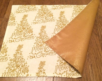 Modern gold Merry Christmas tree placemats with owl