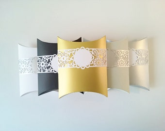 paper pillow box elegant colors with flowery tag band 5 x 6.5 inch - set of 6