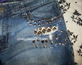 Custom Studded Shorts size 15 / 30 waist OnE oF A KiNd Cute