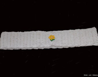 kids headband , crochet kids headband , white , 54 cm