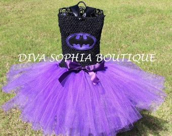 Purple Batman Tutu Dress/ Batgirl Tutu Dress/ Costume