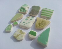 Green mix sea pottery pieces - green beach glass - arts and crafts