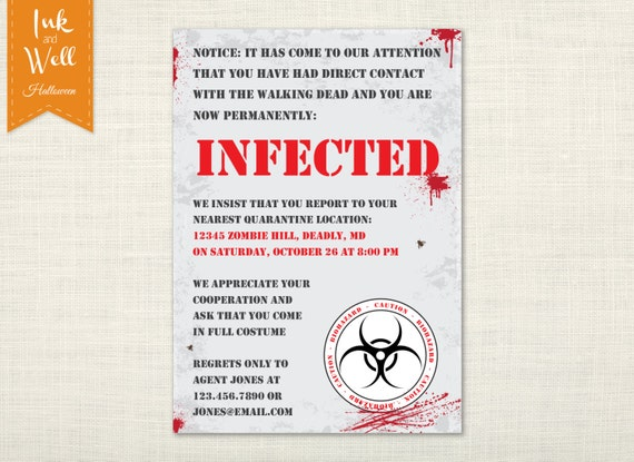zombie halloween invitation walking dead party invite infected caution editable text diy printable invite digital file - Zombie Halloween Invitations