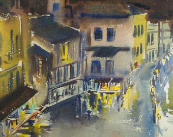 EXPRESSIONIST CITYSCAPE PAINTING Vintage City Watercolor Original Art Night Street Lights Framed Unique Architecture Urban Abstract Signed