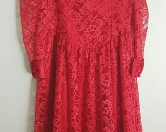 ON SALE  vintage 80s retro red lace prom dress/bridesmaid/prom dress/party/bows/Size small