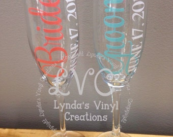 Bride and Groom Bridal Party Champagne Glasses