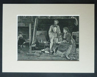 1880s Antique Mihály Munkácsy Print of an Artist's Studio, Available Framed, Painter Art, Hungarian Gift, Victorian Decor Old Wood Engraving