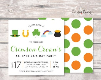 St. Patrick's Day Party Invitation - Holiday Party Invite - Luck of the Irish, Shamrock, Pot of Gold Invite - Company Party - Digital File