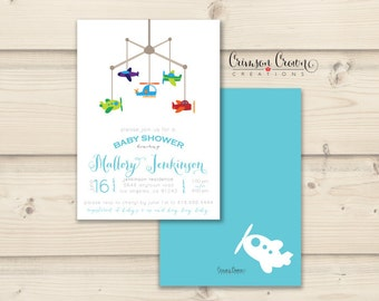 Airplanes Baby Shower Invitation - Mobile Shower Party Invite - Simple Baby Shower - Digital File