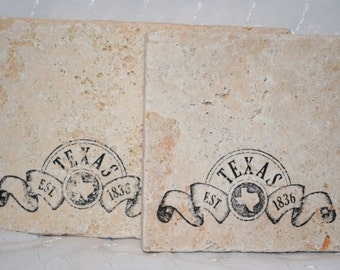 TEXAS, Established 1836 - Texas Banner - Set of 4 Tumbled Tile Stone Coasters - Texan Home Decor