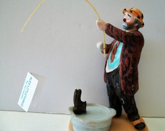Vintage Fishing Clown Figurine 1987 The Original Emmett Kelly Sr Circus Collection Flambro Hobo IT Happy