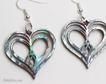 Heart Earrings - Mother of Pearl Earrings  - Owl Heart - Twin Flame - Laser Cut