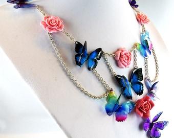 Necklace, butterflies, resin