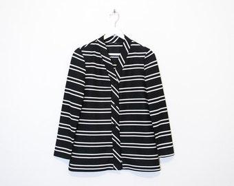 on sale - black & white striped blazer / ribbed button-up jacket / size S