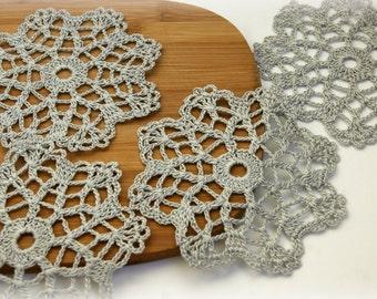Handmade set of 4light grey cup coasters, doilies, flowers,snowflake, home decor, diameter 3.8 inch, ecru, eco