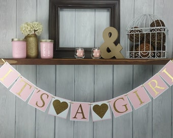 It's A Girl Banner - Baby Girl Banner - Baby Shower Banner - Pink & Gold Baby Shower Decor