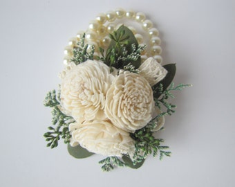Miniature Sola Flower Wrist Corsage - Wristlet - Mother's Corsage - Prom Corsage - Wedding Corsage - Keepsake Corsage - Homecoming Flowers