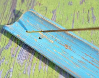 Hand Distressed Aqua Blue Wood Incense Burner