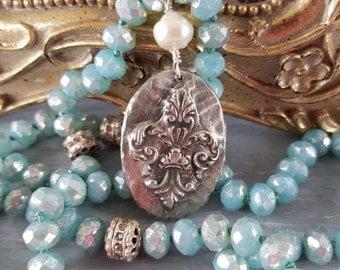 Fleur de Lis Pendant Hand Cast Pewter Pendant Aqua Czech Mercury Beads Aged Rondelles Bohemian Necklace Boho Jewelry by LizzieTishBoutique