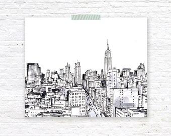 New York City Illustration Print Wall Art, Drawing | Phephe Rose