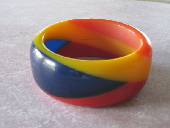 Huge Acrylic Bakelite Style Artisan Resin Bangle Bracelet POLO,  Limited Edition Hand Made