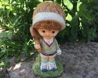 Vintage 1970s Tennis Girl Figurine Collectible Kitsch