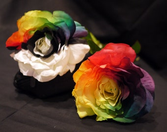 Silk Hand Painted Rainbow Rose