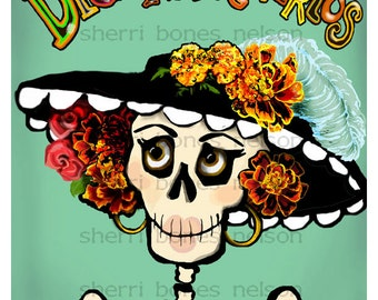 Day of the Dead printable art La Catrina Dia De Los Muertos Skeleton PDF print your own party decoration. Flower Hat Skull Gift for her