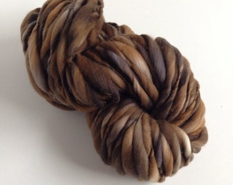 Handspun Thick and Thin Merino Yarn - 50 yds - Scorched Earth