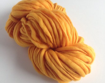 Handspun Thick and Thin Merino Wool Yarn - 50 yards - Gold