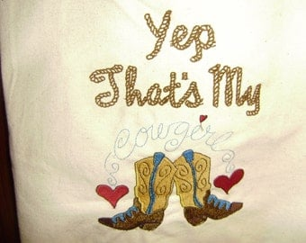 """Free personalizing """"Yep, That's my Cowgirl!"""" canvas tote"""