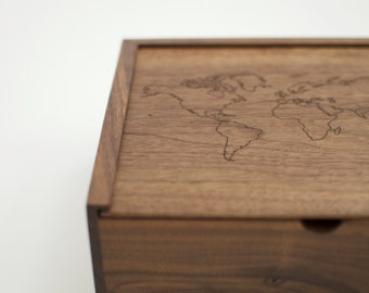 World Map Wooden Box, Memory Box, Keepsake Box, Graduation Gift, Valentine's Gift, Romantic Gift, Travel Gifts, Wanderlust Gift,Treasury Box