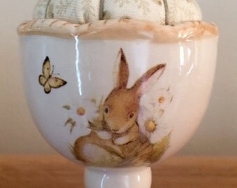 Bunny Egg Cup Pincushion