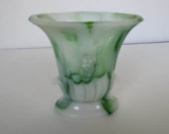 Green and White Akro Agate Vase