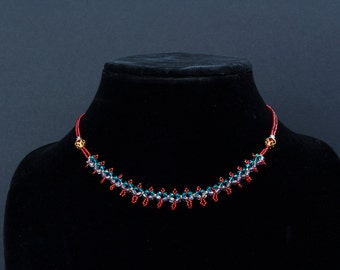 15-inch beaded necklace in red/aqua/purple/gold