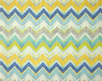 Culloden Chevron Pacific Indoor / Outdoor Swavelle / Mill Creek Fabric - Blue, Gray / Grey, Yellow, Turquoise