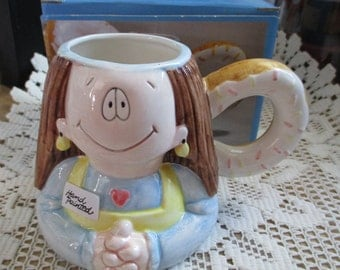 "Vintage ""Cathy"" Mug - with doughnut handle  - From her kitchen collection - For all the"" Cathy's""  out there - Estate find!"