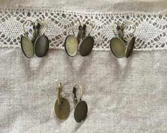 20 Pcs. Antique Bronze Earring Bezel Lever Hooks