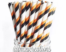Halloween Straws, 25 HALLOWEEN Orange and Black Paper Straws, Halloween Party, Trick or Treat, and Fall Carnival Theme Events, Diy Flags